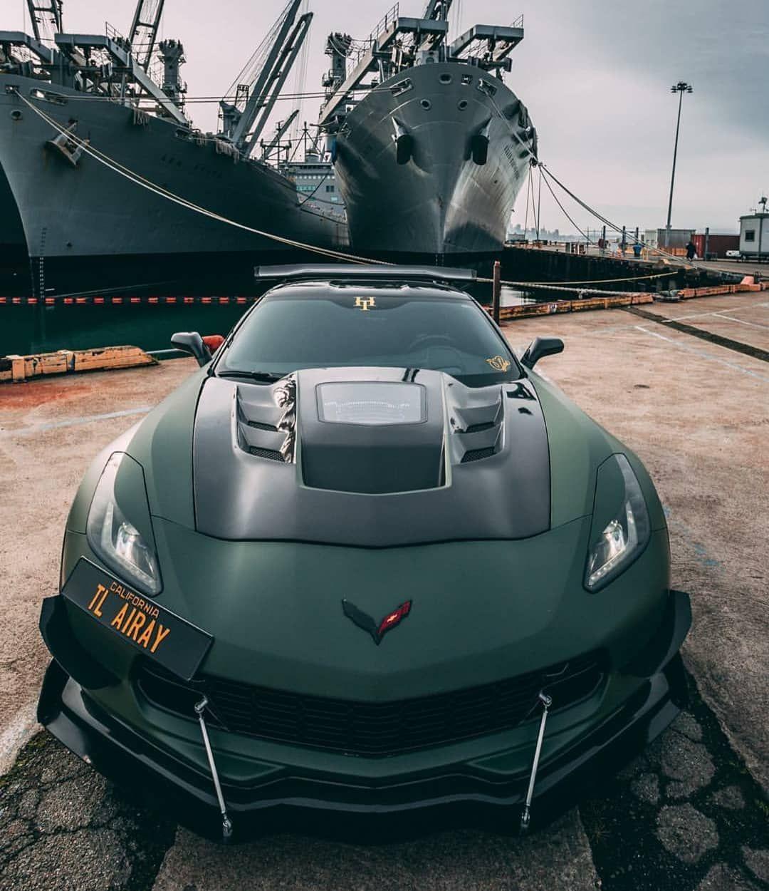 Matte green Chevrolet Corvette Z06