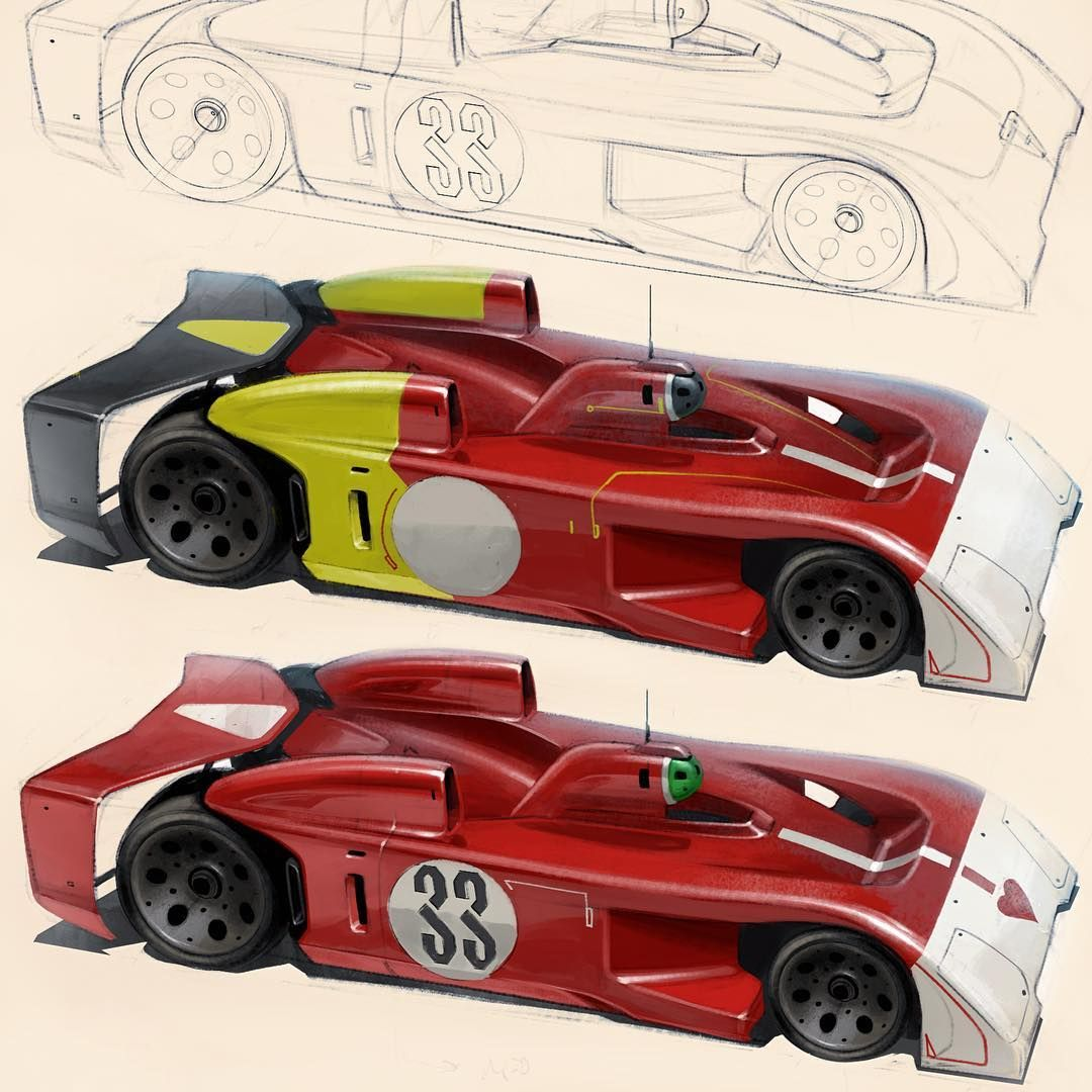 "John A. Frye on Instagram: ""1970 Alfietti Autonoma T33/3R …color considerations. Design to be refined… #spruemeister #autonomousracing #fryewerk #carsketch…"""