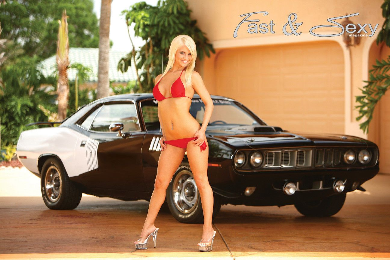 1971 Plymouth Hemi Barracuda Fast & Sexy Poster models muscle cars bikini girl  | eBay