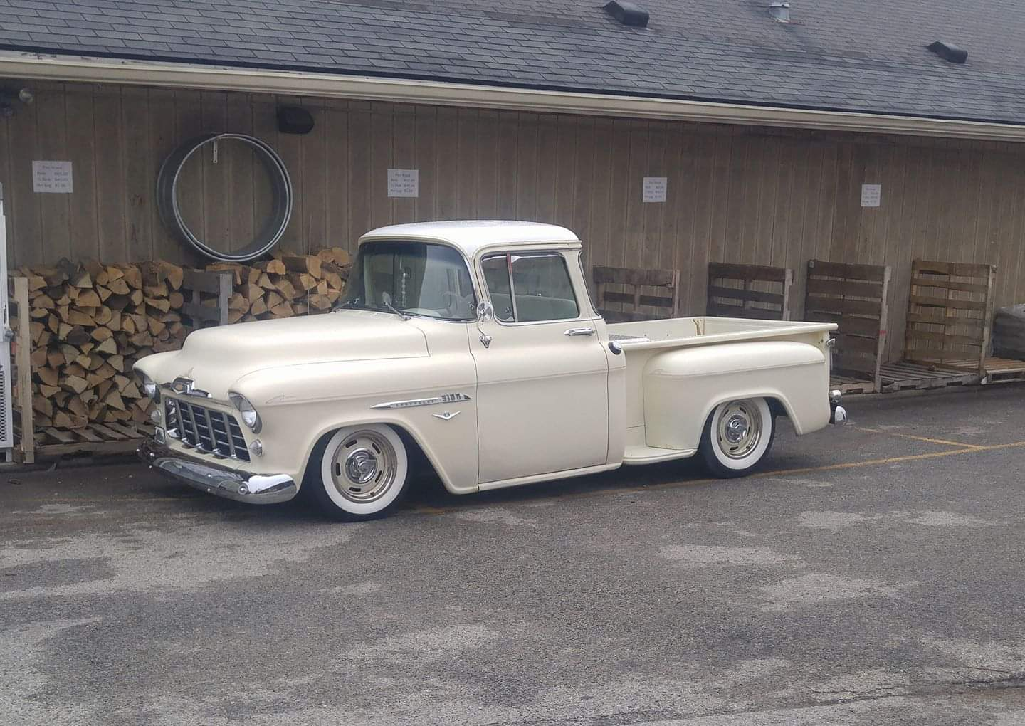 Came out of the hardware store and was greeted by this gorgeous '56 Chevy truck.