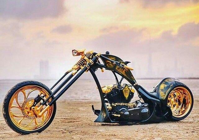 #BlackandGold Custom Chopper                                                    …