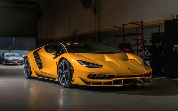 Download wallpapers Lamborghini Centenario, 2017 cars, garage, supercars, yellow Centenario, Lamborghini besthqwallpapers.com
