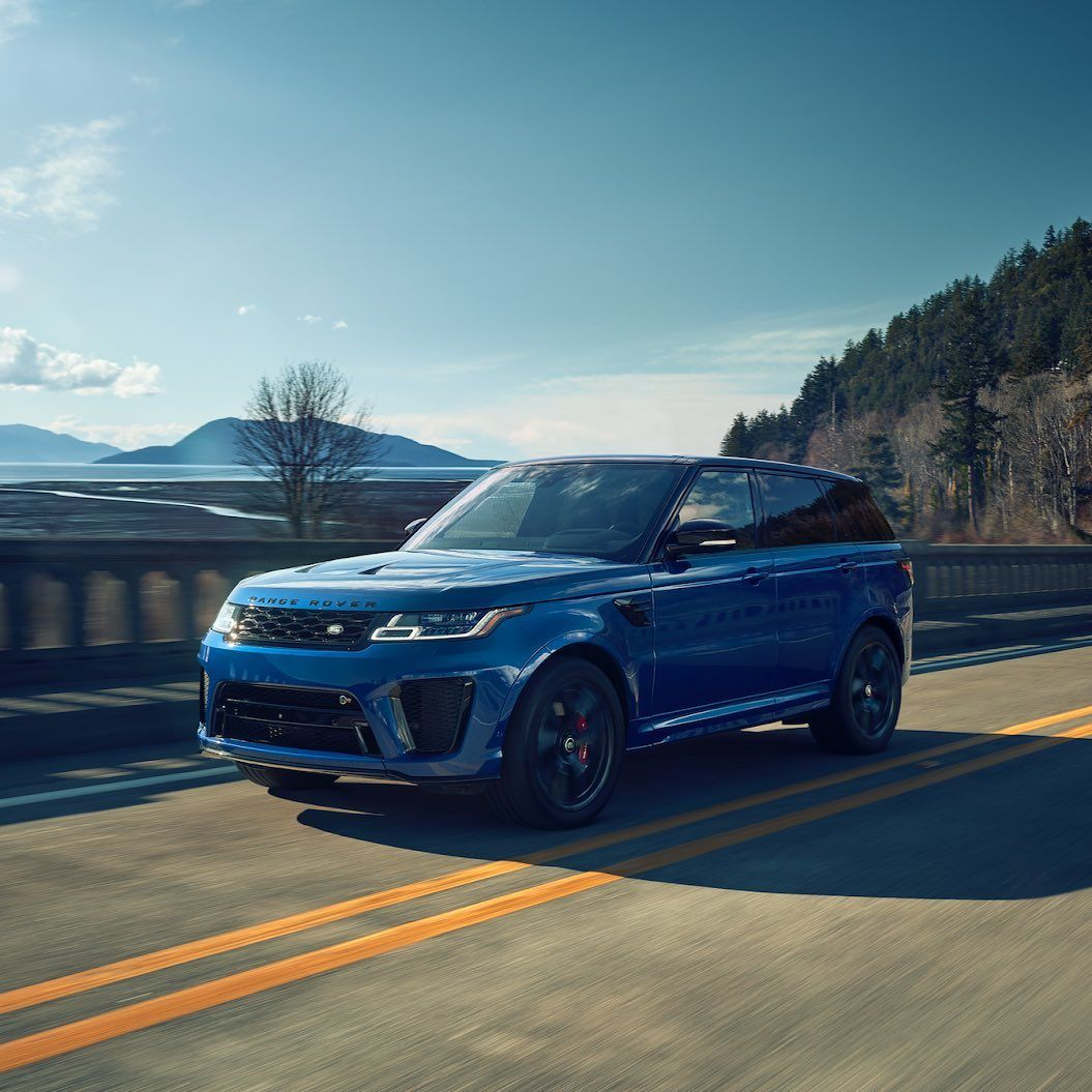 "Land Rover USA on Instagram: ""Blue streak. The Range Rover Sport SVR goes 0-60 in 4.3 seconds, delivering acceleration you can really feel. #RangeRoverSport"""