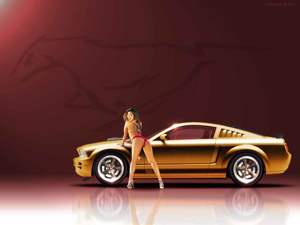 Ford Mustang and hot girl