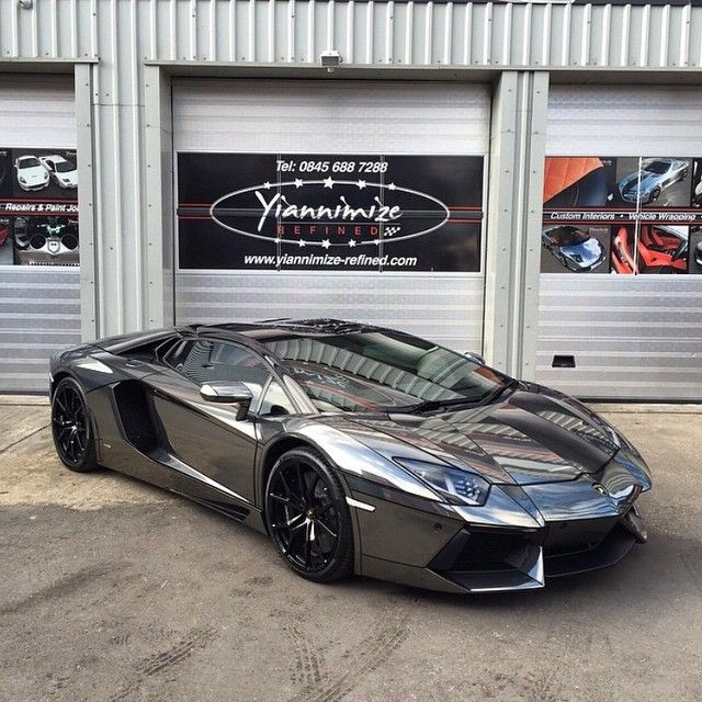 "Jay @Marbek on Instagram: ""Chrome black Aventador is completed by @yiannimize and ready to go to Lamborghini London with  @rue175 and @refusenish. Full wrap with Tron…"""