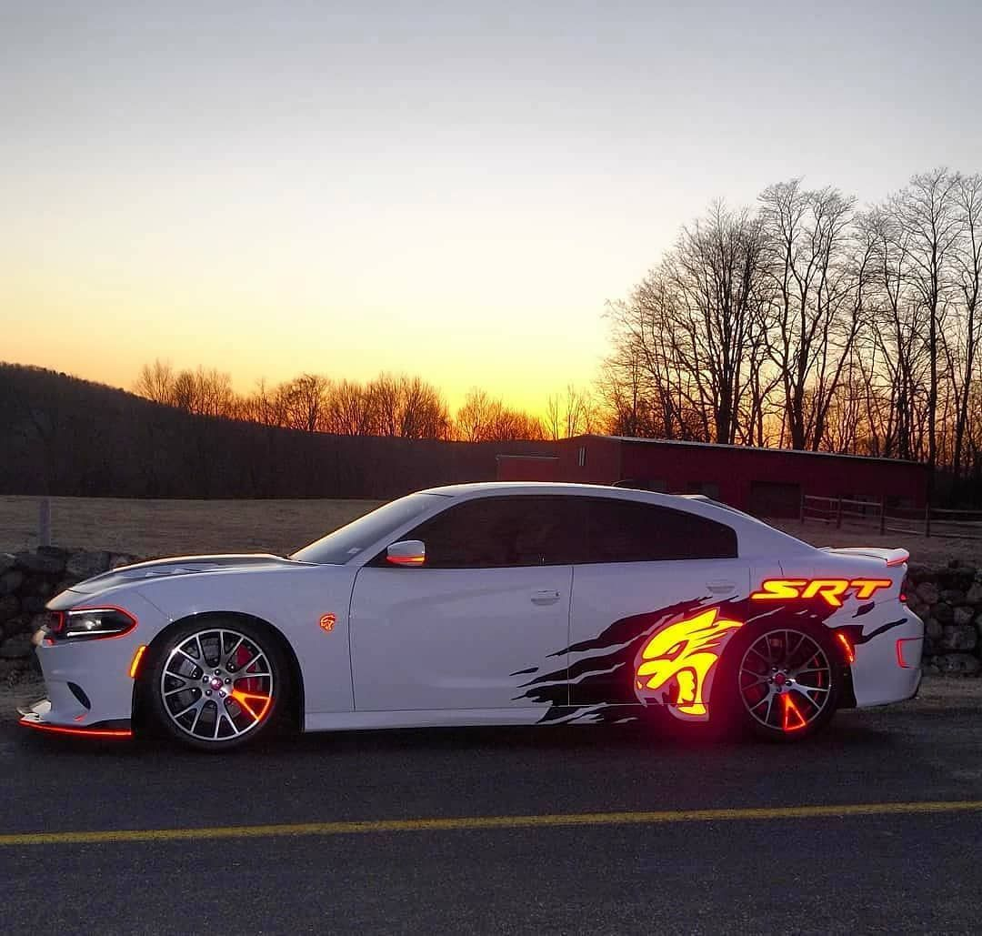 Dodge Charger Hellcat with reflective vinyl