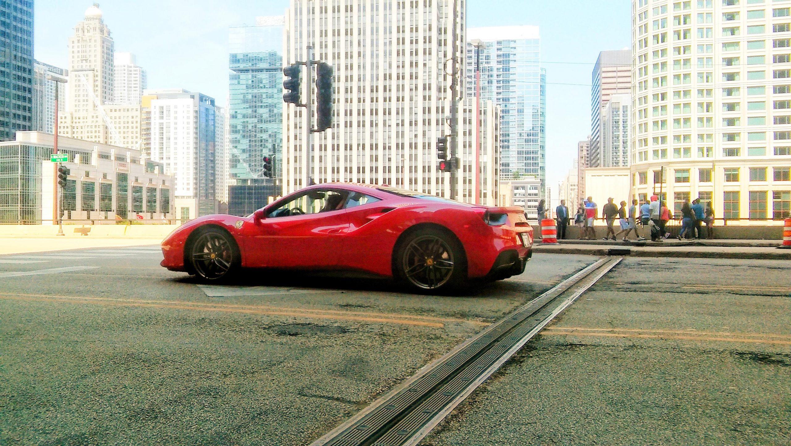 Red Ferrari 488 in Chicago, Illinois