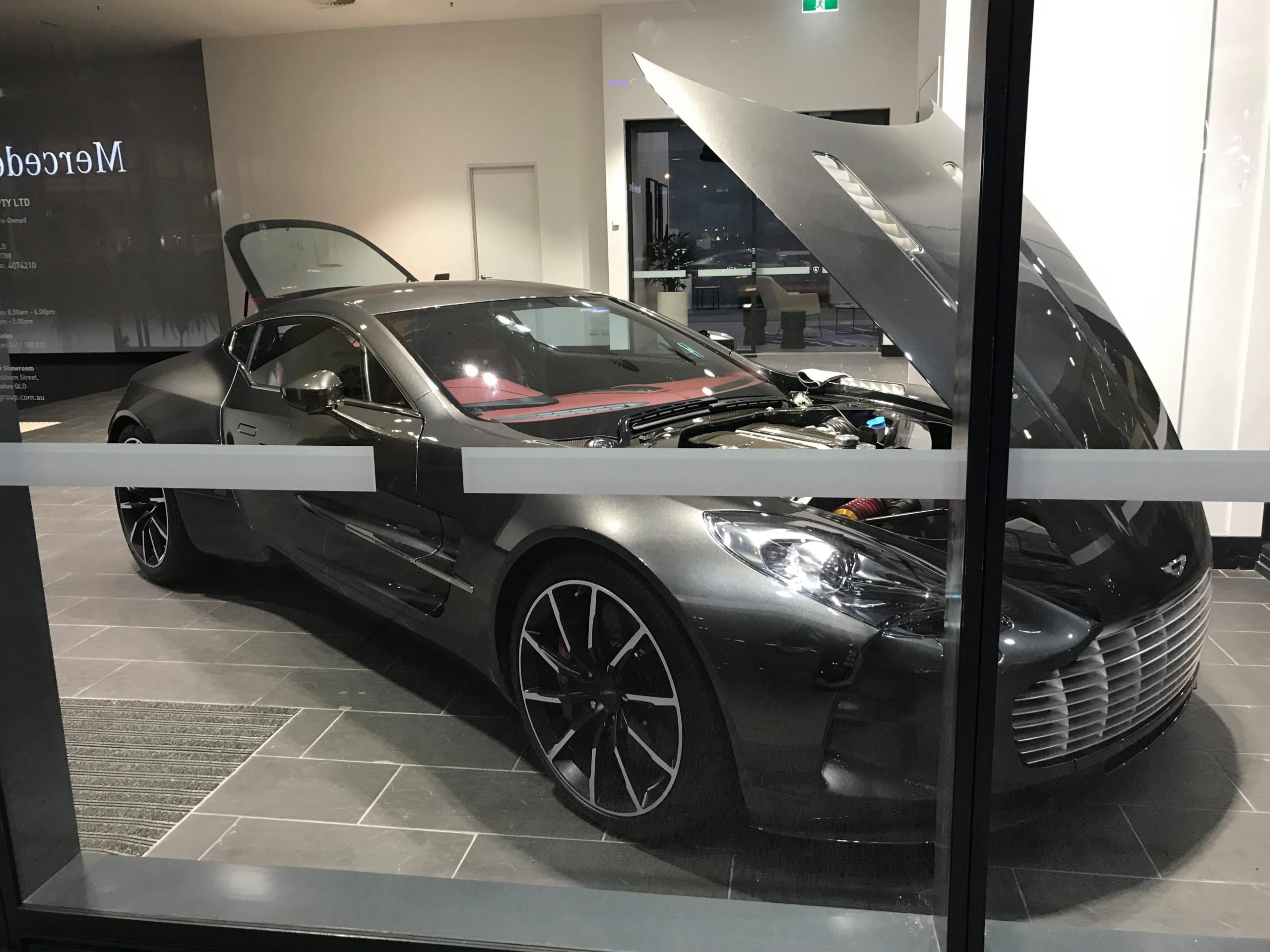 Was taking a walk through Brisbane AU, Happened to find this Aston Martin One 77 at a dealership with only 77 built with only one in Australia that I am aware of. Absolutely crazy chances and a beautiful car!