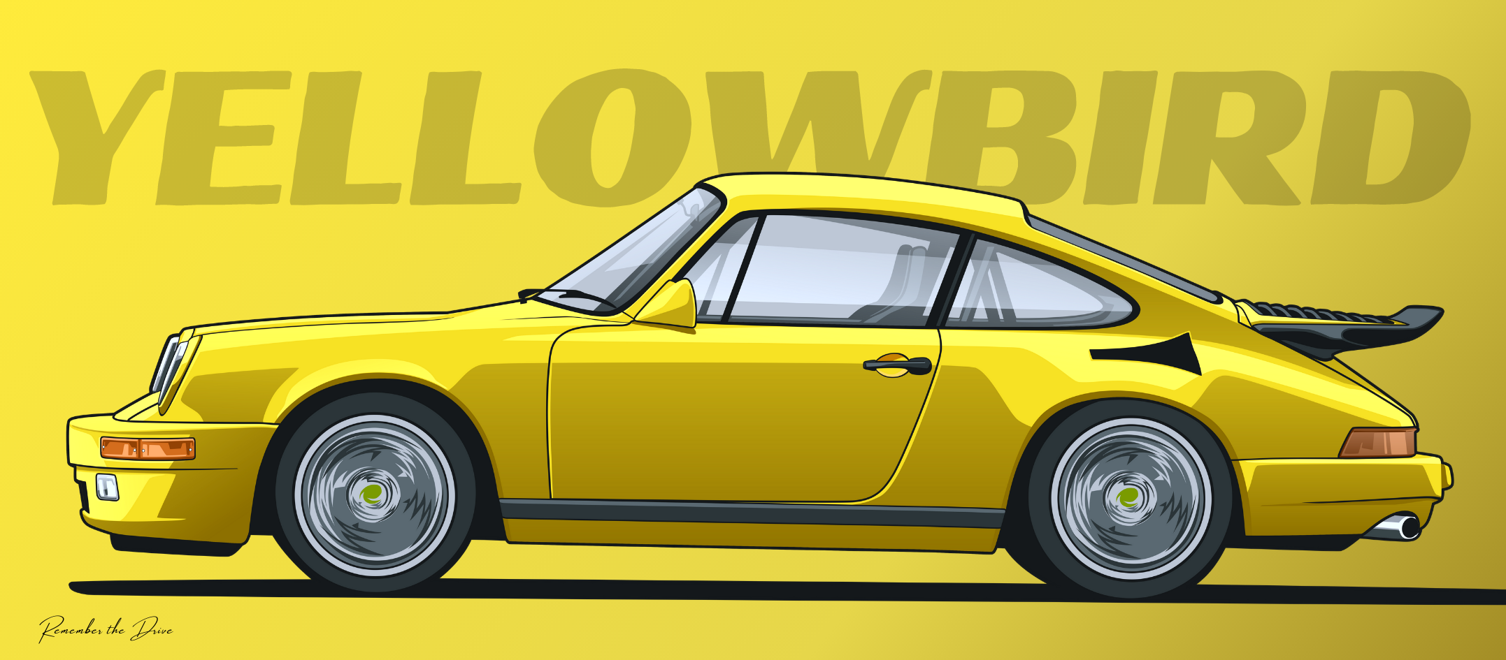 Can I have feedback on this Ruf Yellowbird poster I'm working on? What would you change?
