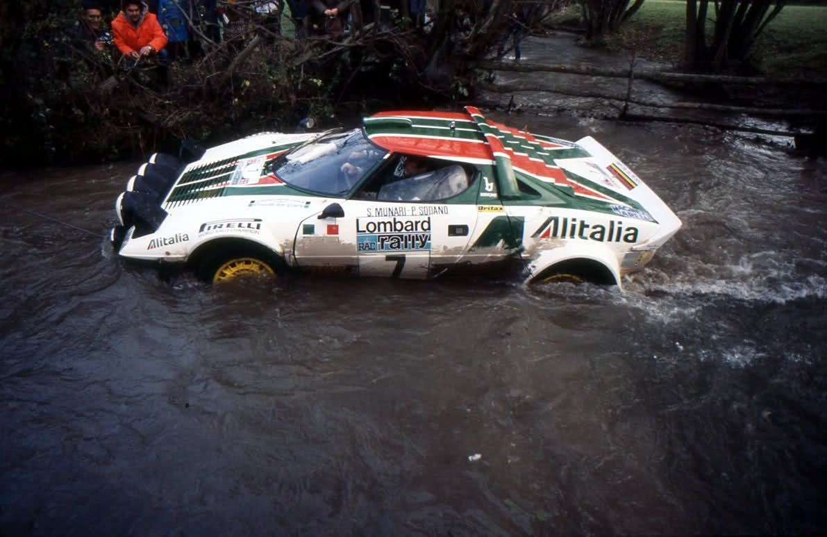 """""""Many will ask themselves if the Lancia Statos has extensions in the exhaust above the water level. The answer is no. The driving technique was to always mantain RPM over 3500 in first gear, so that the exhaust pressure was higher than the water's"""" – Gianni Tonti, Lancia Reparto Corse"""