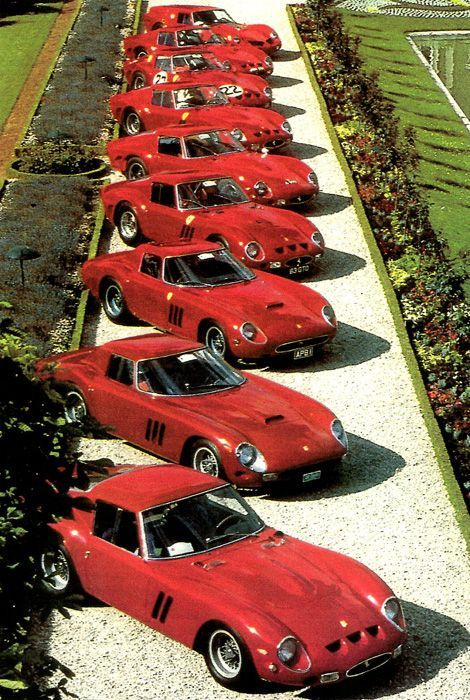 Ferrari 250 GTO's! Now this is one seriously expensive row of cars… #FerrariF… – Luxury Brand Car Information And Promotion Blog