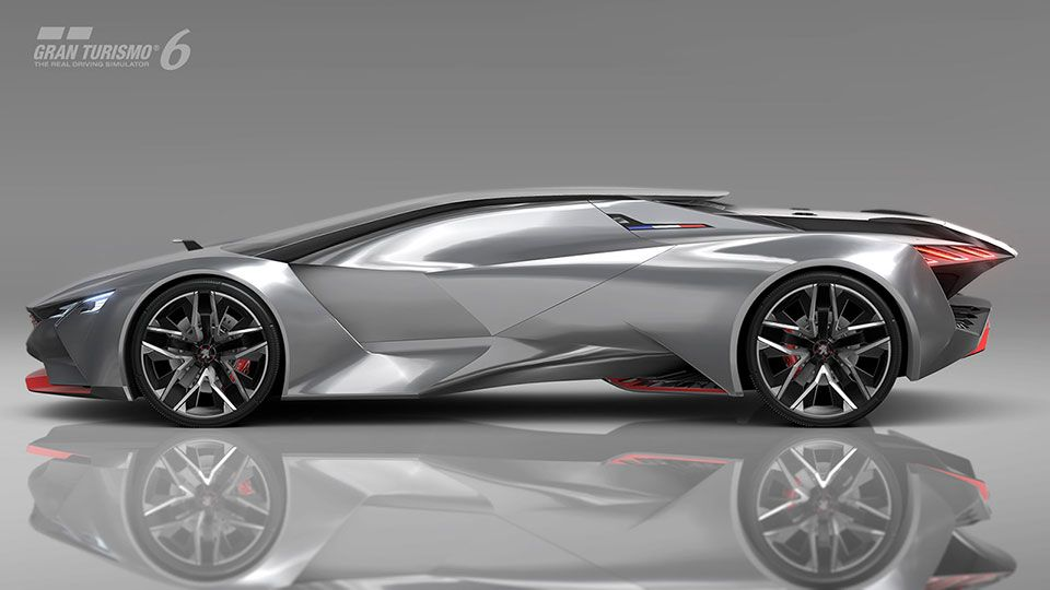 the 'peugeot vision gran turismo' concept reveals a dramatic silhouette