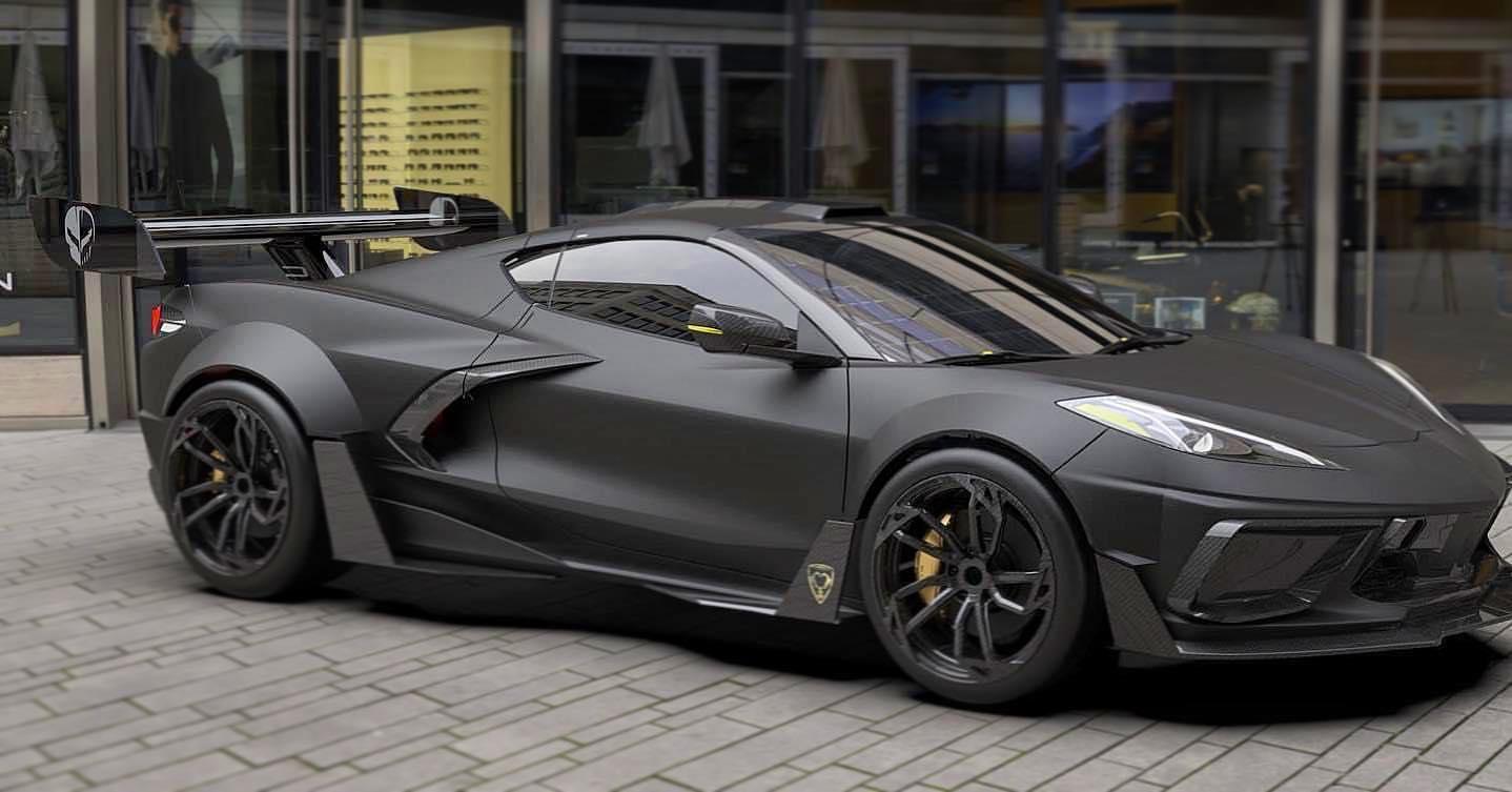 Flat black C8 Corvette