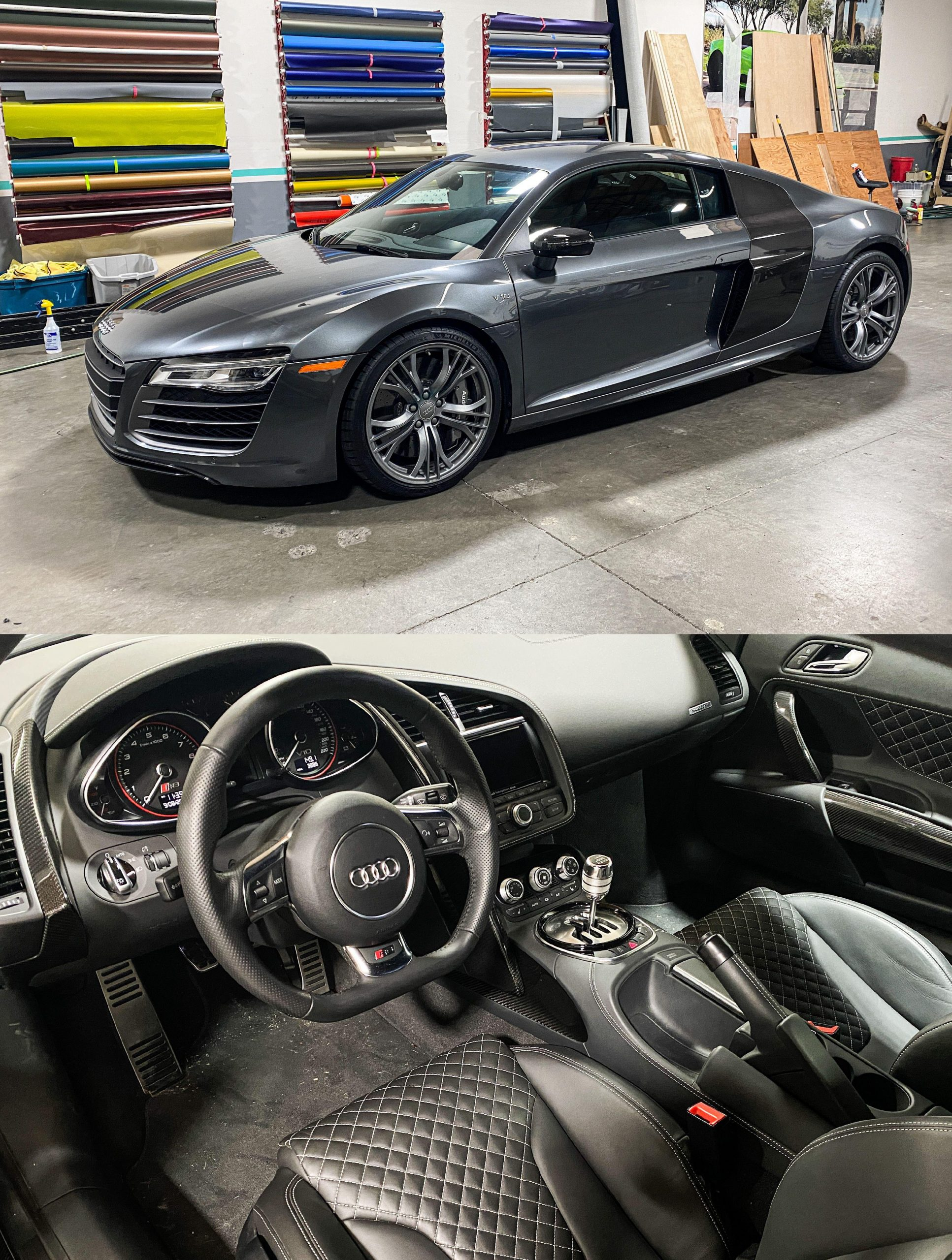 2014 V10 Audi R8 with gated manual. 3,886 miles on the odometer. In our shop for full PPF.